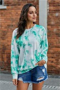 Novas Frees para Pijama Tiedye para Womens Crew Neck Tie Dye Pajama curta Define Set Tie Dye Feminino pijamas Floral Imprimir Nightwear Garden2010
