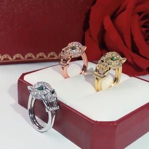 Explosif argent anneau de personnalité neutre animal léopard anneau Twinkle qualité supérieure amour Celebrity Anneaux yeux incrustés de cristal vert