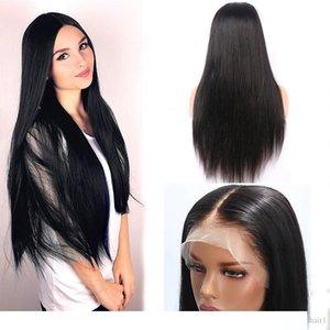 RARO delantera recta pelucas de pelo humano de la peluca del cordón del pelo para calentar la Parte cordón de Mujeres Natural Medio fibra a prueba de mirada natural de la peluca