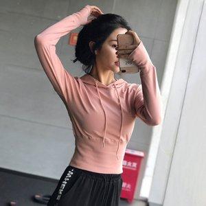 SALSPOR Sport Tops Frauen Kordelzug Hoodys Solid Color Cotton Fitness Kleidung Herbst Outdoor Laufen Active