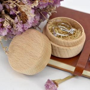 La caja del anillo de madera de haya pequeñas y redondas caja de almacenamiento retro para la boda joyería de madera natural ZZA1360a Caso