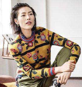 Impreso floral de la vendimia suéter Hamaliel diseñadores pista Otoño Invierno Mujeres grueso de manga larga de punto Jerseys Moda