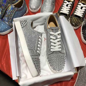 Fábrica Venda Seavaste 2 de Homens Orlato Plano Sneaker Sliver Glitter Leather Spikes Casual / Walking / Party For Lazer Wedding Dress EU35-47