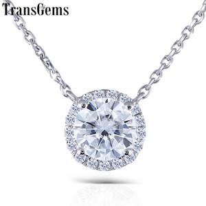 Transgems Solide 14k 585 Or Blanc 1ct Fgh 6.5mm Moissanite Diamant Pendentif Halo Pour Les Femmes 18 Pouces Chaîne Y19032201