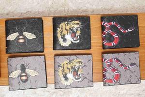 carte animaux hommes de haute qualité court portefeuille serpent noir en cuir Tiger abeille Portefeuilles femmes Long style bourse de portefeuille Les porteurs avec coffret cadeau 2 couleurs