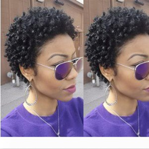 العامري أفريقيا البرازيلي الشعر سيدة أعلى جودة وباختصار غريب مجعد شعر مستعار محاكاة الشعر الإنسان حليقة قصيرة شعر مستعار الشحن مجانا