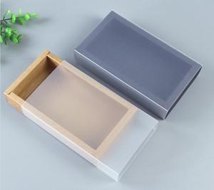 9 größen Kraft schwarz weiß geschenkverpackung box mit fenster kraftkarton papier geschenkpapier box mit deckel karton karton