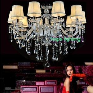 Europeu candelabro de cristal moda Led Lustres Sala Chandelier Com Lampshade Modern Chandelier Para Quarto Lâmpadas Pingente