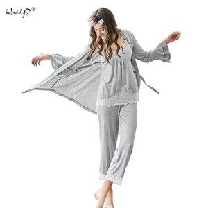 Le donne Pajamas Set 3 pezzi Felpa + Pants + Robes Pajama Set sexy del merletto V-Neck Homewear dormono insieme signore Pajamas Sleepwear