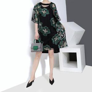 2019 style coréen femmes d'été vert Floral Lace Robe Taille Plus Femme Transparent Party Sexy Club Midi Robes Robe Femme F1025