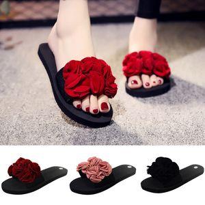 Woman Bohemian Flower Flat Slippers Summer Sandalias Non-slip Beach Shoes Home Slippers Women