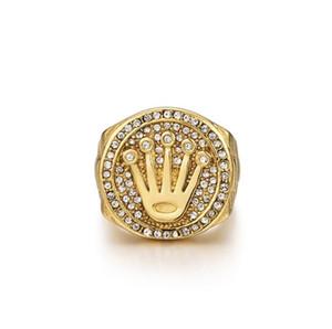 de Hip Hop de la joyería de Bling corona de rey Padre regalo del día para los hombres Bling Bling Micro Pave CZ color oro circón anillo
