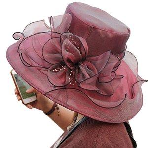 الكورية الصيف الكنيسة القبعات للنساء خمر الزهور ولي الأورجانزا fascinator أحد قبعة واسعة بريم الزفاف فيدورا حزب الرقص قبعات
