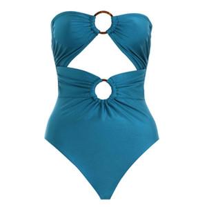 Costume da bagno bikini siamesi sexy con allacciatura ad anello con fibia Swim Wear Alta elasticità Materiale in nylon morbido blu con imbottitura per il petto 33nk C1