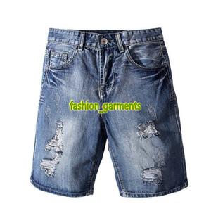 2019 Summer New Blue Denim Shorts Hommes Denim Shorts Hommes styliste Trou Jeans Shorts Mode