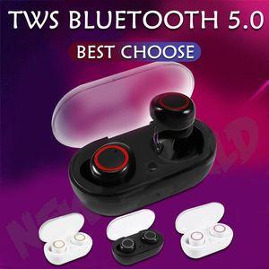 Mini Twins sans fil Bluetooth 5.0 Casque stéréo Sport Casque intra-auriculaires écouteurs DT-2 TWS avec chargeur Prise pour Smartphone