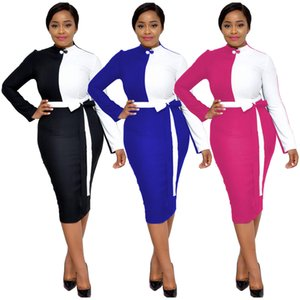 Two Colors Panelled Fashion OL Dresses 2019 Hot Sale Long Sleeves High Neck Elegant Bodycon Dress with Sash Knee Length Real Photos