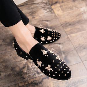Quaoar New Fashion Gold Top et Robe Toe hommes velours métal chaussures hommes italiennes chaussures habillées main Mocassins hommes de luxe chaussures S200409