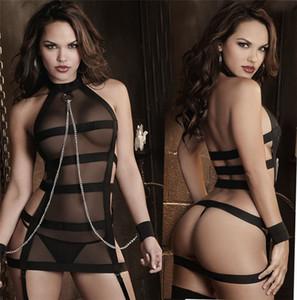Mulheres Sexy Lingeries Set Negro Cor Cauze Halter Skinny ver através Backless saia Womens Clothing Designer