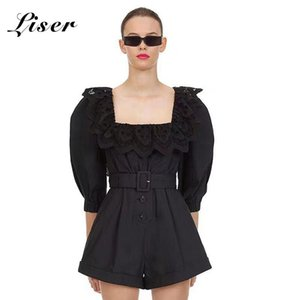 Liser 2020 New Summer Women Playsuits Square Neck Lace Sashes Playsuits Sexy Bodycon Club Celebrity Party Black Plysuit Vestidos