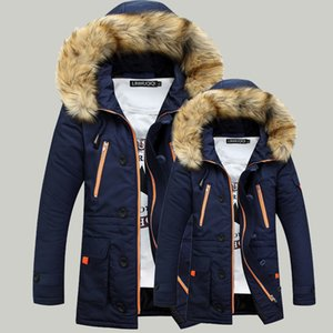 2019 Men Men's thick padded Nagymaros collar and long sections hooded jacket young couple a generation of fat