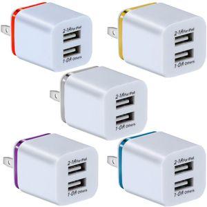 Portas USB duplas 2.1A + 1A UE AC AC Home Travel Wall Carregador Power Plug para Samsung Galaxy Nota 8 10 S8 S10 HTC Phone Android