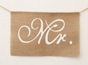 Hot Event Khaki Mr. & Mrs. Burlap Chair Banner Set Chair Sign Garland Rustic Wedding Party Decoration