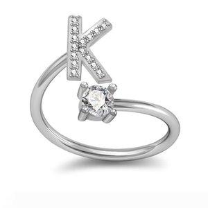 Neue Silber-Ring Aufklappen Größe Strass Ringe für Frauen Hochzeit Geschenke 26 Letters Adjustable Statement Ring