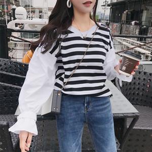 Frauen Shirts mit V-Ausschnitt Streifen Stitching-Shirt Laterne Ärmeln lose T-Shirt Weibliche Art und Weise beiläufige Street