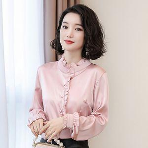 En Çok Satan Kadın Saten İpek Chine Gömlek Pist Lüks Artı boyutu Bayanlar Düğme Bluzlar Fener Kol fırfır Ofisi Tasarımcı Gömlek Tops