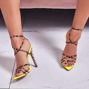 Sexy léopard Croix-attaché designer femmes à talons hauts sandales Jaune Rose Couleur stiletto talon d'été lady Parti banquet chaussures