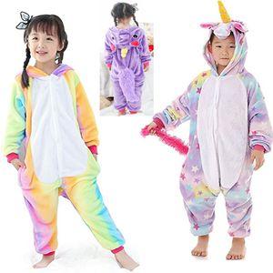 Crianças Unicorn pijamas de flanela Halloween Costume meninos meninas animal flanela Cosplay Pijamas Natal Roupa XD21454