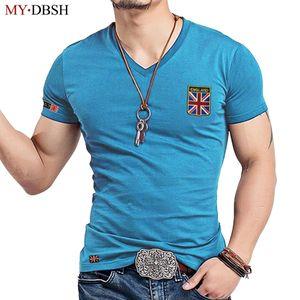 Mydbsh Marca de Moda V Pescoço Dos Homens Camisa Casual Algodão Elástico Masculino Slim Fit Camiseta Homem Bordado Inglaterra Bandeira Camisetas Roupas C19041702