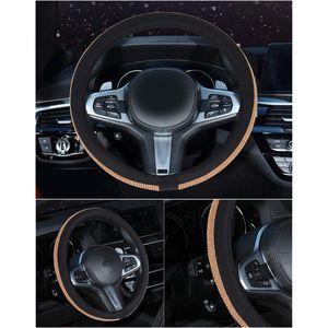 Interior Steering Wheel Cover Thread Anti-slip 38cm Rhinestone Protector