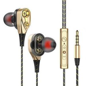 Kablolu Kulaklık Yüksek Bas Çift Sürücü Stereo Kulak Kulaklık Mikrofonlu Bilgisayar Kulakiçi Cep Telefonu Için (Perakende)