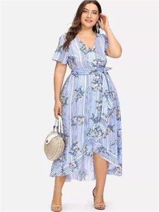 Tallas grandes para mujer Desinger Summer Vestidos con estampado floral Cuello en V Manga corta Ropa femenina asimétrica Sprint Ropa casual