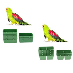 10Pcs Single Lattice & 10Pcs Double Lattice Bird Parrot Macaw Budgie Lovebird Pigeons Cage Stand Feeding Cup Food & Water Bowls