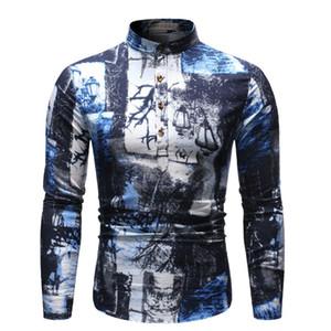 Etnik Stiller Erkek Tasarımcı Gömlek Yıldızlı Gece Baskı Homme Tops Casual Giyim Yağlı Boya Styles Mens