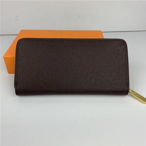las mujeres de moda de lujo carteras dama famosa cuero de la PU bolso monedero de la cartera única clásica de la cremallera con la caja de color naranja 60017