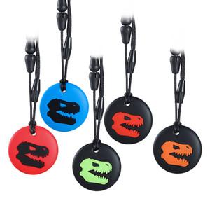 Chew sensorielle Collier Dino Forme Ronde de qualité alimentaire silicone Croquer collier pendentif bébé rehausseurs pour enfants Boy Todderls autisme TDAH