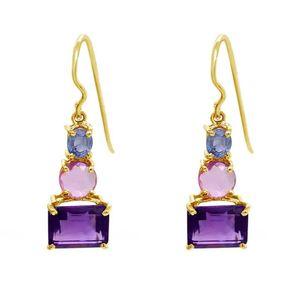 Fashion Amethyst Topaz Crystal Earrings Zircon Gold Plated Earrings Dangle Ear Hook Charm Pendant Eardrop Women Jewelry Statement Gifts