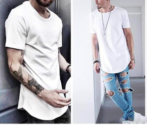Urban Kpop Extended T shirt Plain Longline Mens Tee Shirts Male Clothes Mens Curved Hem Hip Hop T-shirt