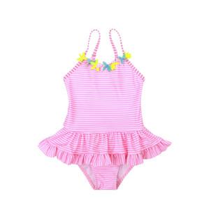 Kız bebekler Mayo Çizgili Kız Sling Mayolar Bir Adet Çiçek Kız Banyo Çocuk Swim Wear Yaz Çocuk Giyim WZW-YW2657 Takımları