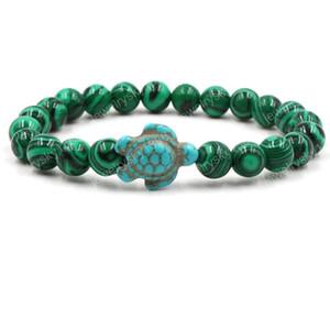 Femmes Accessoires De Mode Vert Turquoise Tortue 8mm Bracelet En Perle De Pierre Volcanique Bracelet En Pierre Naturelle Bracelet En Pierre Chanceux