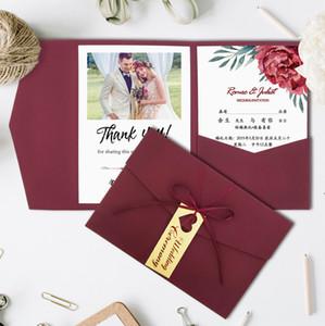 Invitations de mariage Bourgogne Trifold Pocket Bridal Douche Invitation d'engagement avec carte RSVP avec ruban et tag