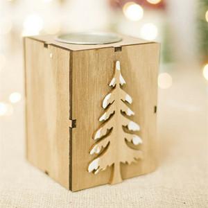 Legno di candela Tealight Holder cerimonia nuziale della festa di Natale Strumento Ornament Decor