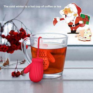 Forma guantes de té Filtro coladores Santa Claus silicona té café infusor de filtro de Año Nuevo regalo de la decoración del favor de fiesta del escritorio del hogar FFA2731-1