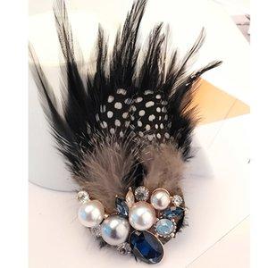 Las plumas de las señoras de la moda grandes perlas broches de pedrería de cristal espumoso vestido de colocación broche Accessorise joyería