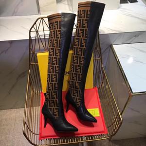 salto alto moda mulheres de tricô botas meias Pointed de 9.5cm sapatos das mulheres Botas sexy skinny botas de inverno pés senhoras de alta qualidade