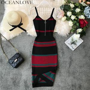 OCEANLOVE Sexy Robe Vintage Rayé Moulante Coréenne Zipper Robe V-Cou À Tricoter Stretch Midi Robes D'Été Robe Femmes 12132